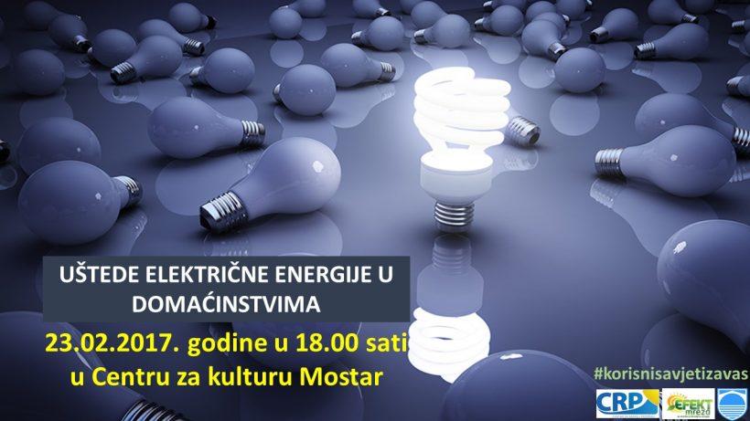 """NAJAVLJUJEMO TEMU """"Uštede električne energije u domaćinstvima"""""""